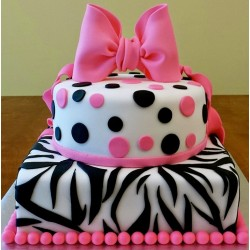 Pink Ribbon Zebra Minnie